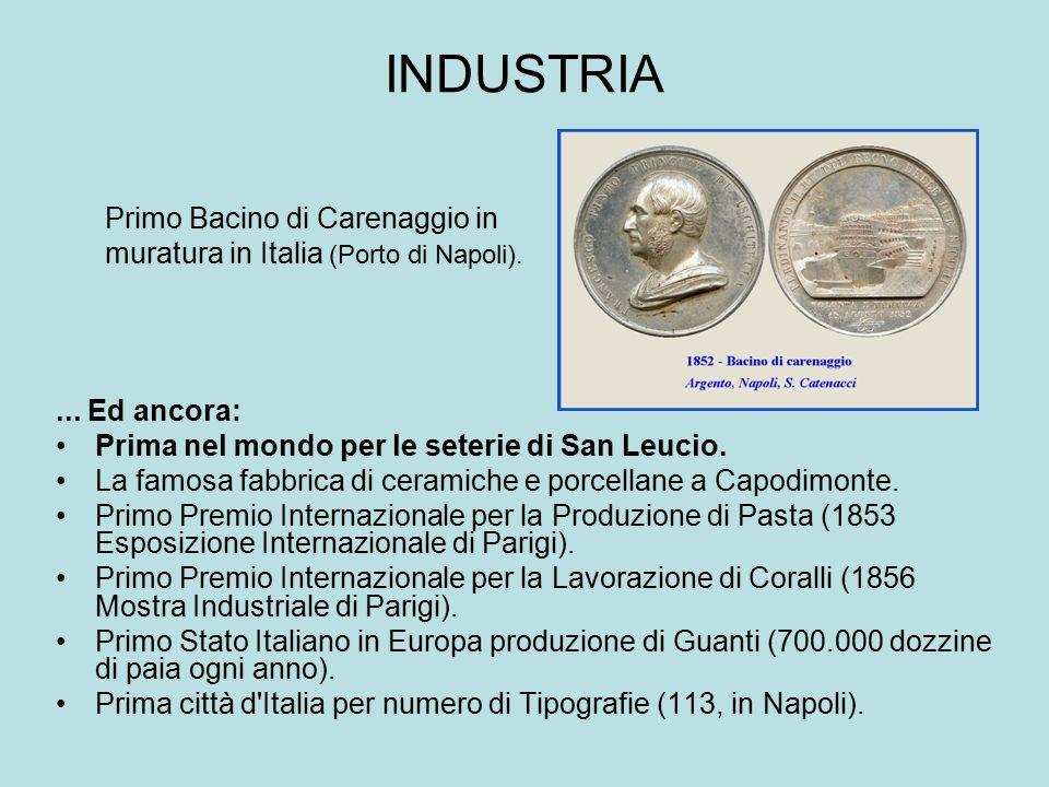 INDUSTRIA Primo Bacino di Carenaggio in muratura in Italia (Porto di Napoli). ... Ed ancora: Prima nel mondo per le seterie di San Leucio.
