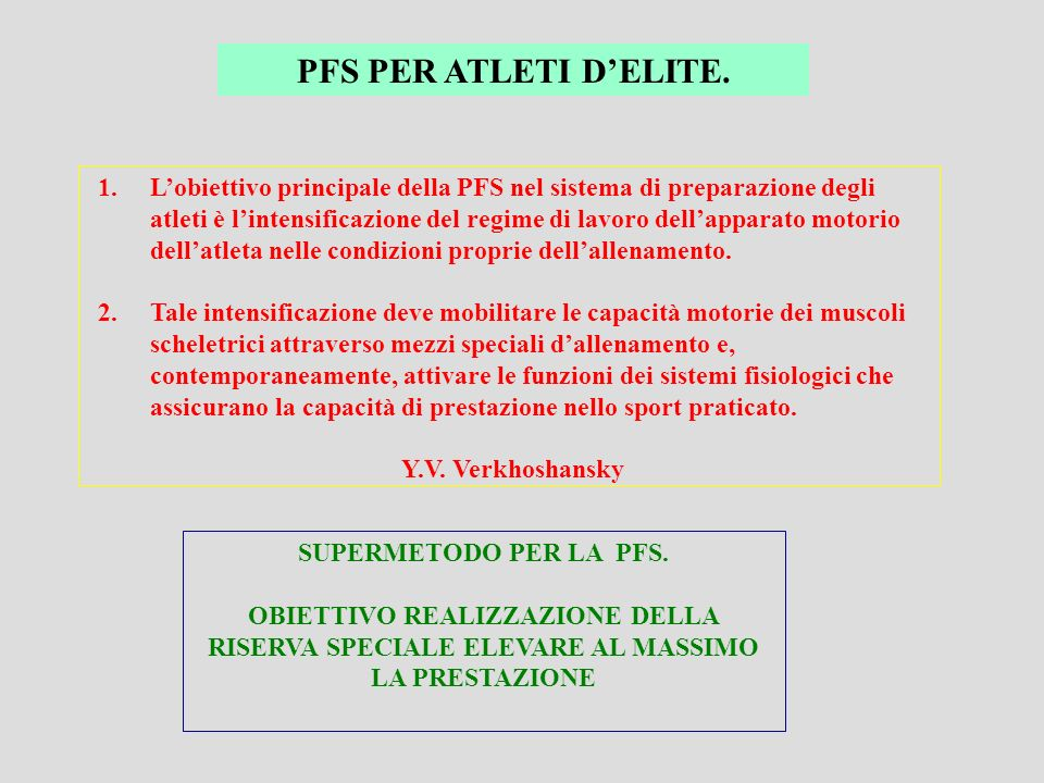 PFS PER ATLETI D'ELITE.