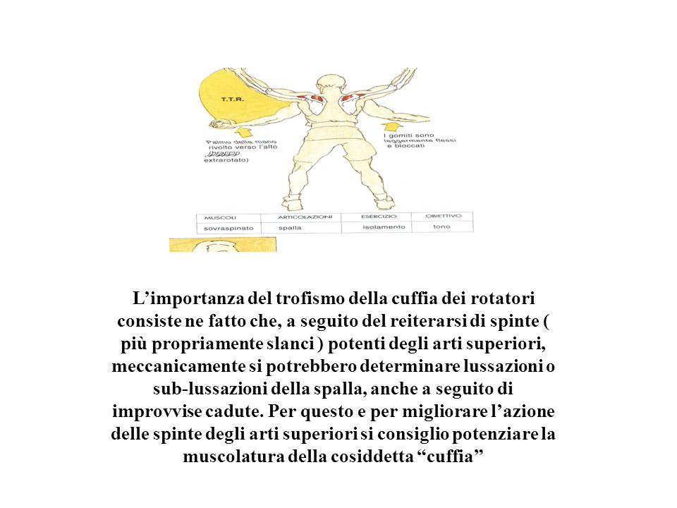 L'importanza del trofismo della cuffia dei rotatori consiste ne fatto che, a seguito del reiterarsi di spinte ( più propriamente slanci ) potenti degli arti superiori, meccanicamente si potrebbero determinare lussazioni o sub-lussazioni della spalla, anche a seguito di improvvise cadute.