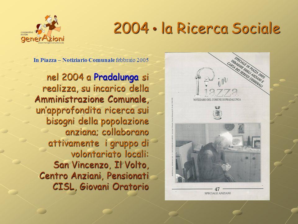 2004 • la Ricerca Sociale In Piazza – Notiziario Comunale febbraio 2005.