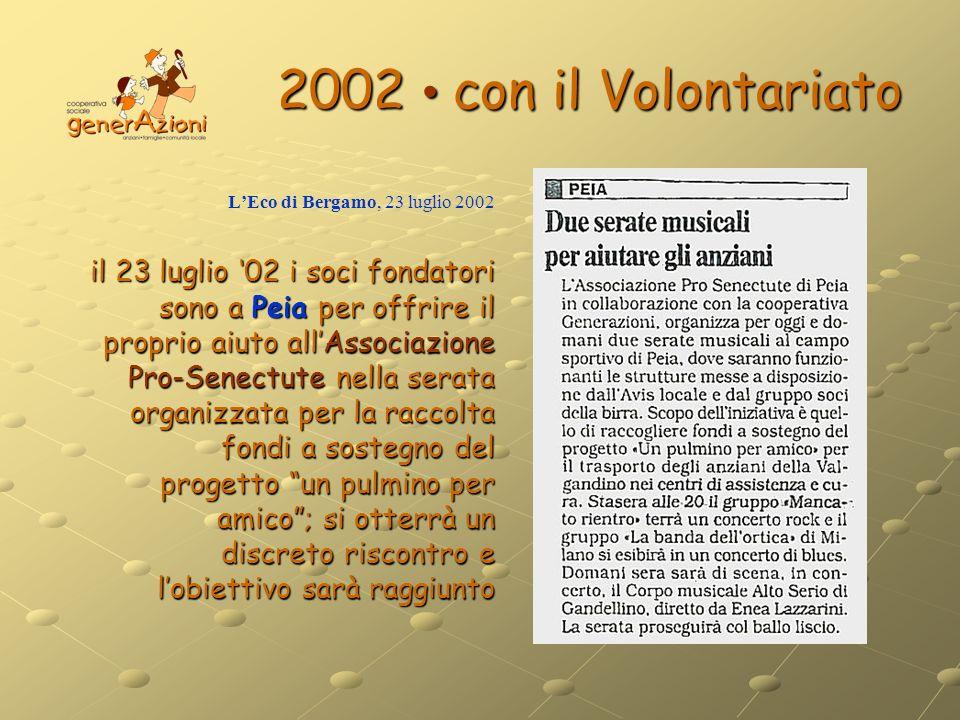 2002 • con il Volontariato L'Eco di Bergamo, 23 luglio 2002.