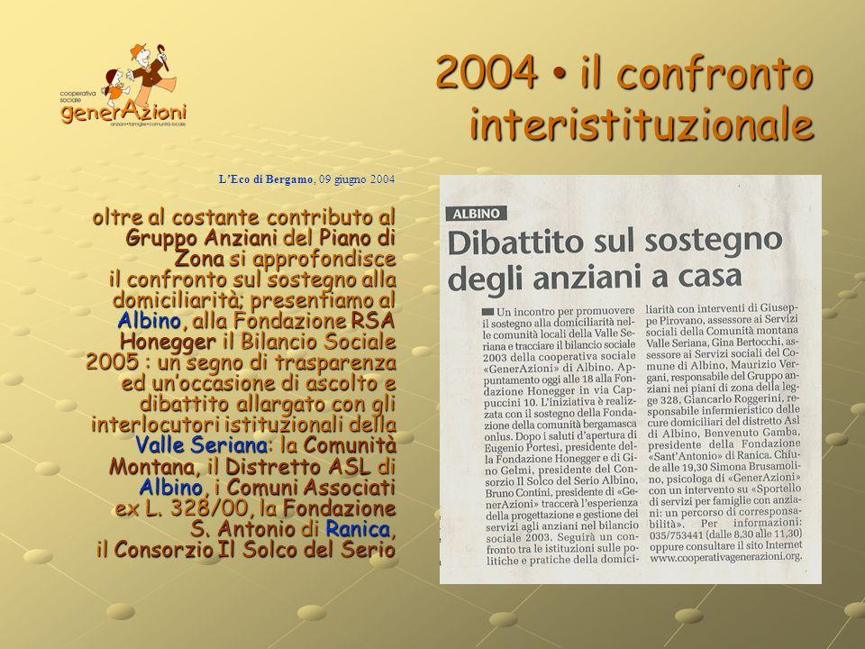 2004 • il confronto interistituzionale