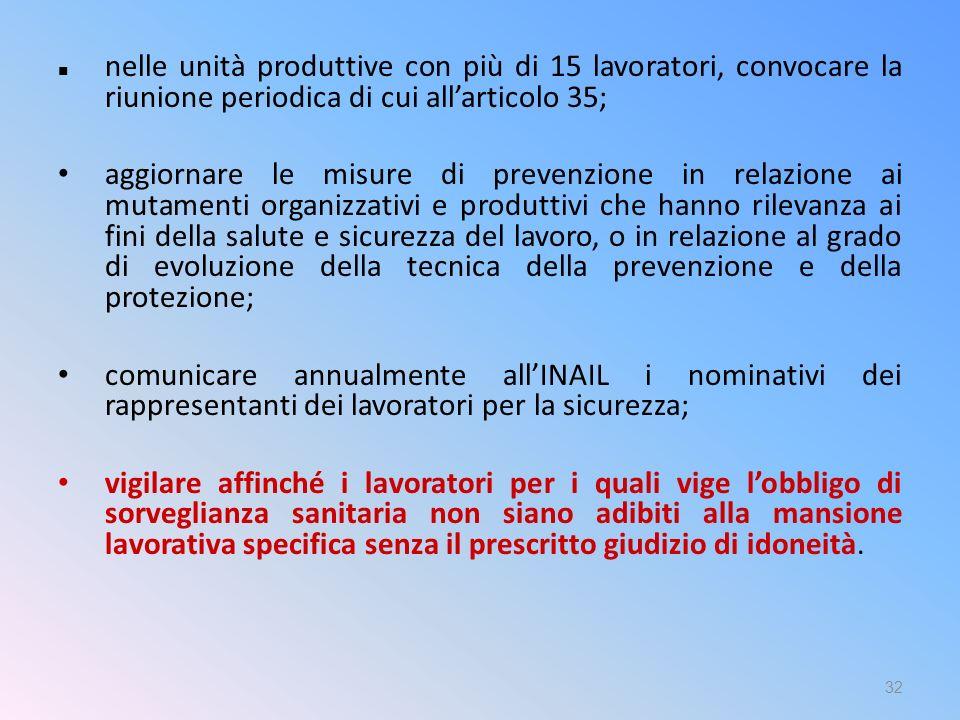 nelle unità produttive con più di 15 lavoratori, convocare la riunione periodica di cui all'articolo 35;