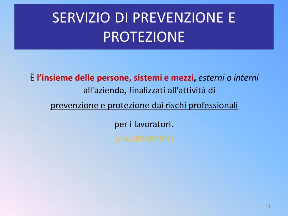 SERVIZIO DI PREVENZIONE E PROTEZIONE