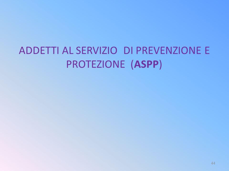 ADDETTI AL SERVIZIO DI PREVENZIONE E PROTEZIONE (ASPP)