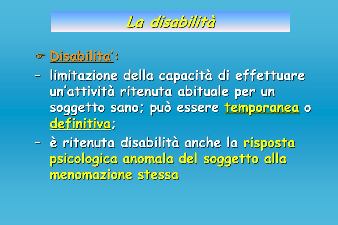 La disabilità  Disabilita':