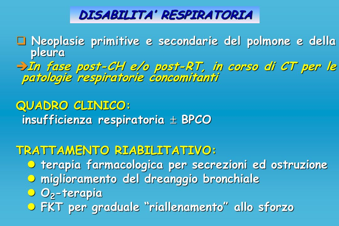 DISABILITA' RESPIRATORIA