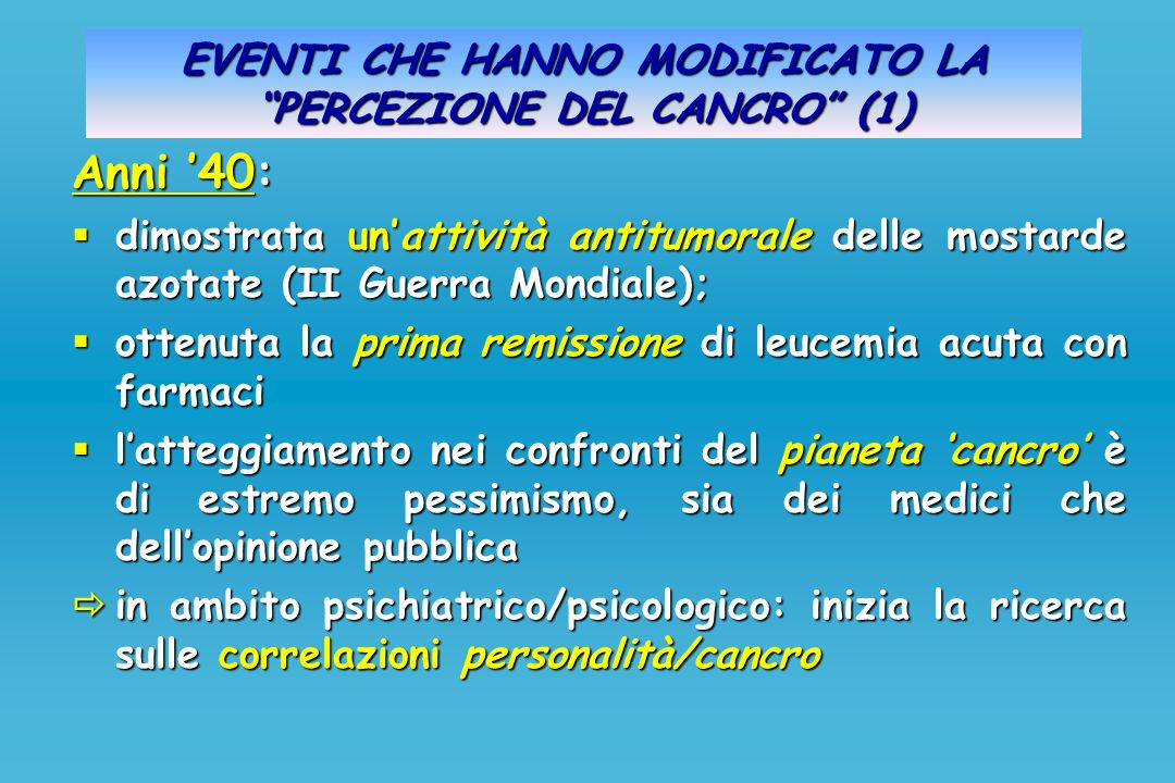 EVENTI CHE HANNO MODIFICATO LA PERCEZIONE DEL CANCRO (1)