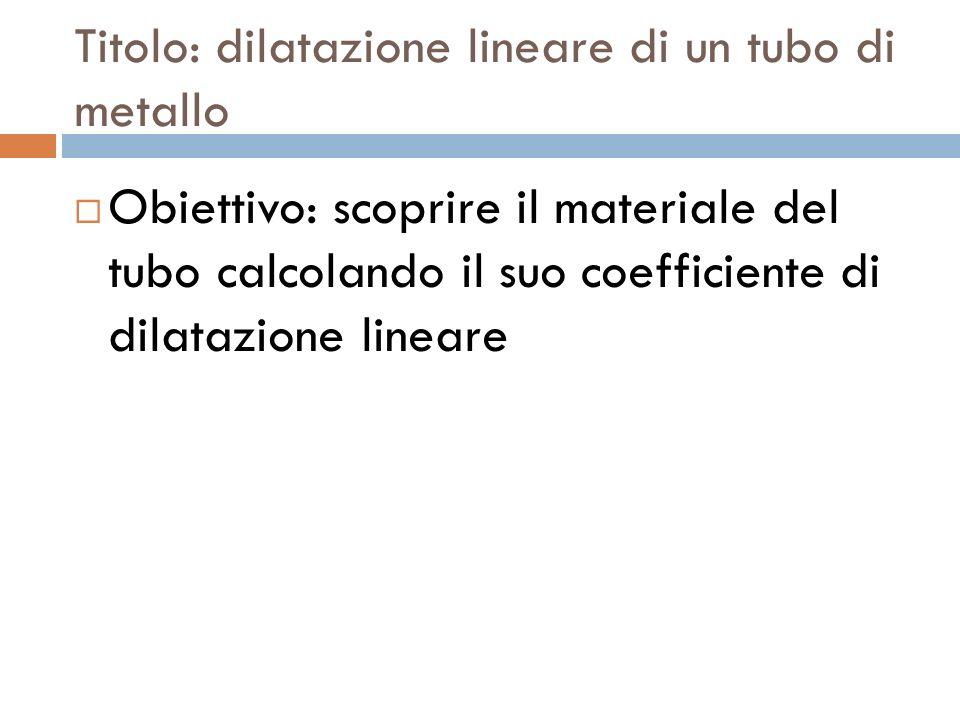 Titolo: dilatazione lineare di un tubo di metallo