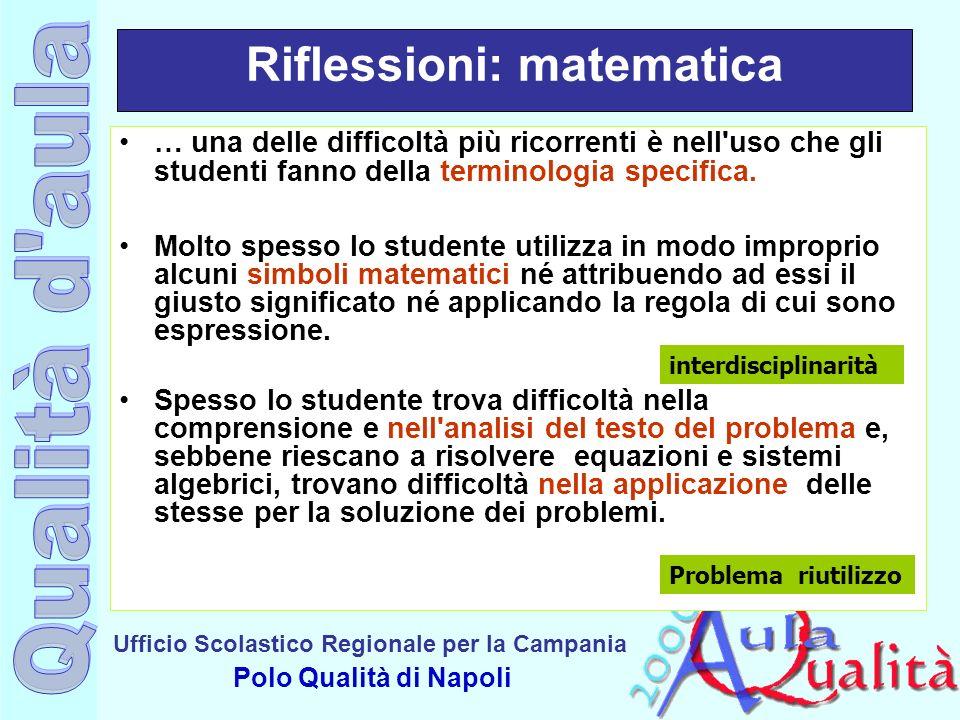 Riflessioni: matematica