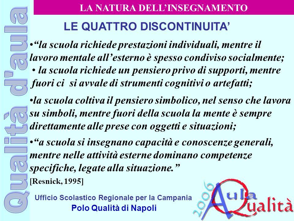 LA NATURA DELL'INSEGNAMENTO LE QUATTRO DISCONTINUITA'