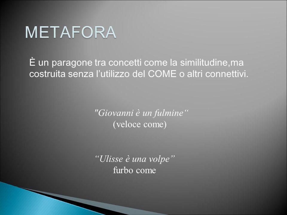 METAFORA È un paragone tra concetti come la similitudine,ma costruita senza l'utilizzo del COME o altri connettivi.