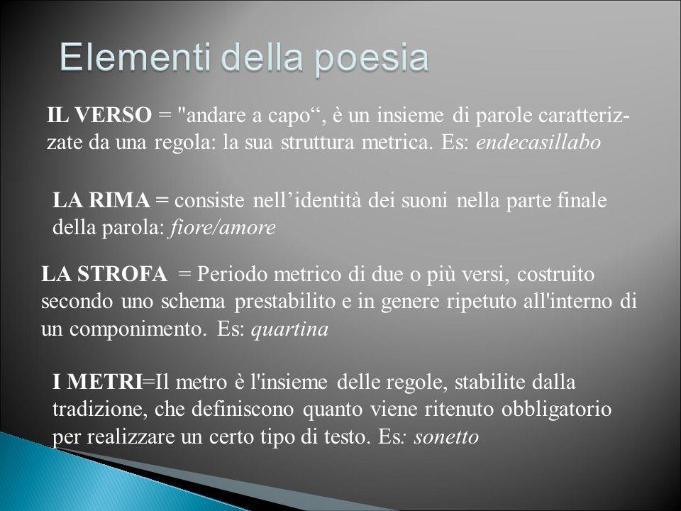 Elementi della poesia IL VERSO = andare a capo , è un insieme di parole caratteriz- zate da una regola: la sua struttura metrica. Es: endecasillabo.