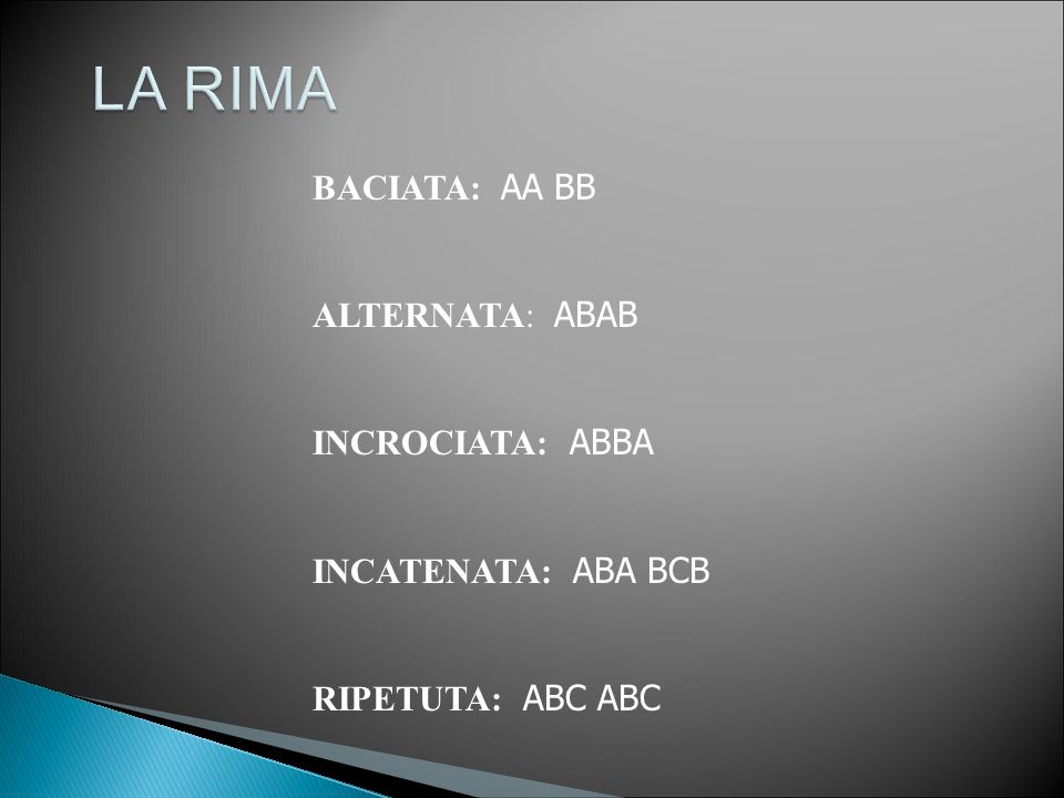 LA RIMA BACIATA: AA BB ALTERNATA: ABAB INCROCIATA: ABBA