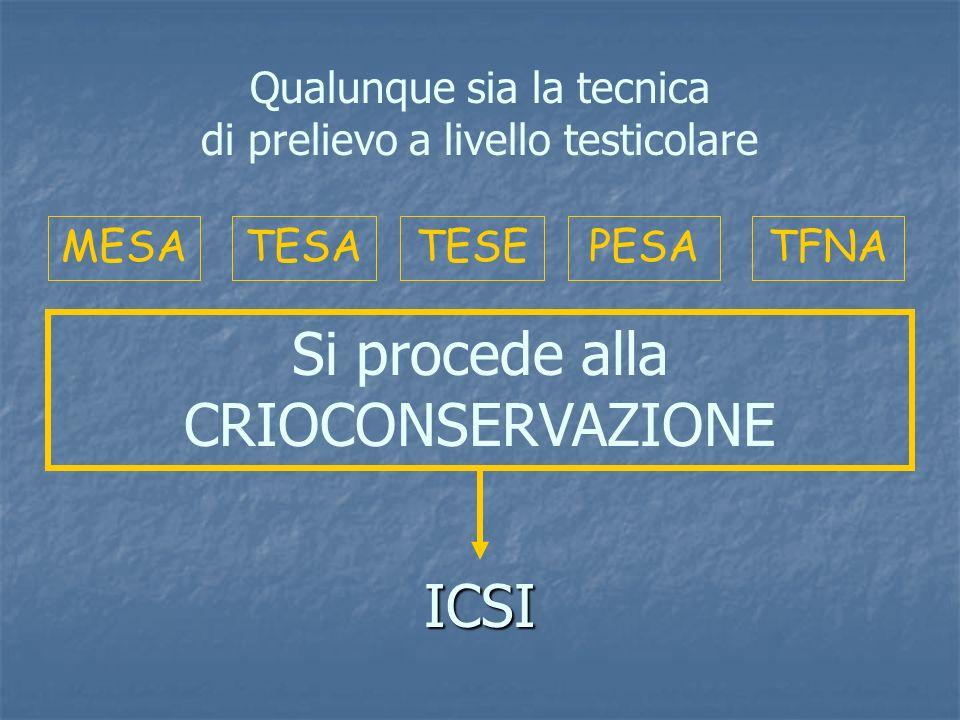 Si procede alla CRIOCONSERVAZIONE ICSI Qualunque sia la tecnica
