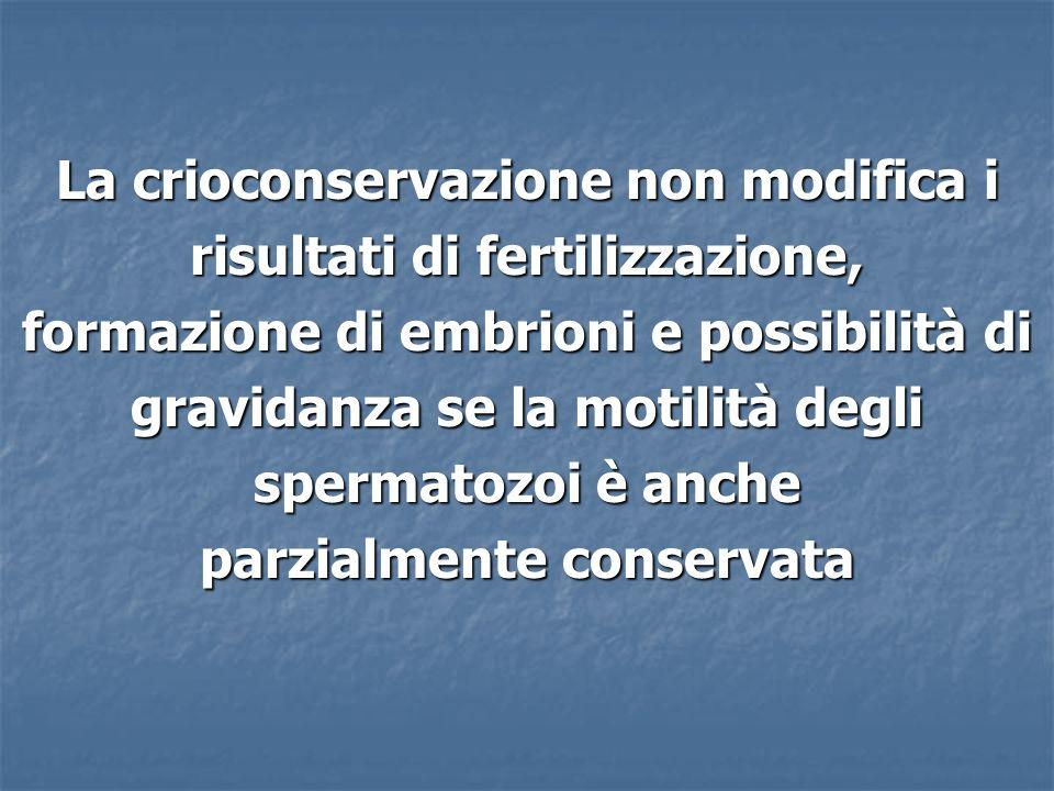 La crioconservazione non modifica i risultati di fertilizzazione,
