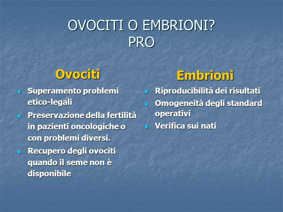 OVOCITI O EMBRIONI PRO Ovociti Embrioni