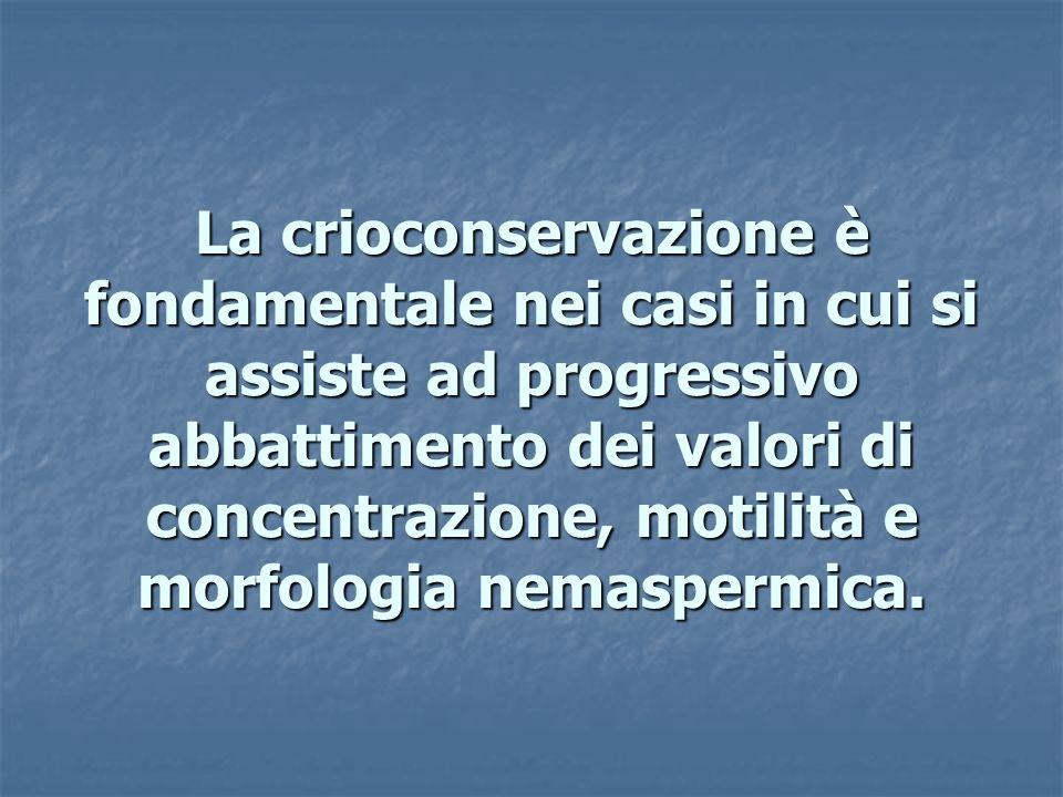 La crioconservazione è fondamentale nei casi in cui si assiste ad progressivo abbattimento dei valori di concentrazione, motilità e morfologia nemaspermica.