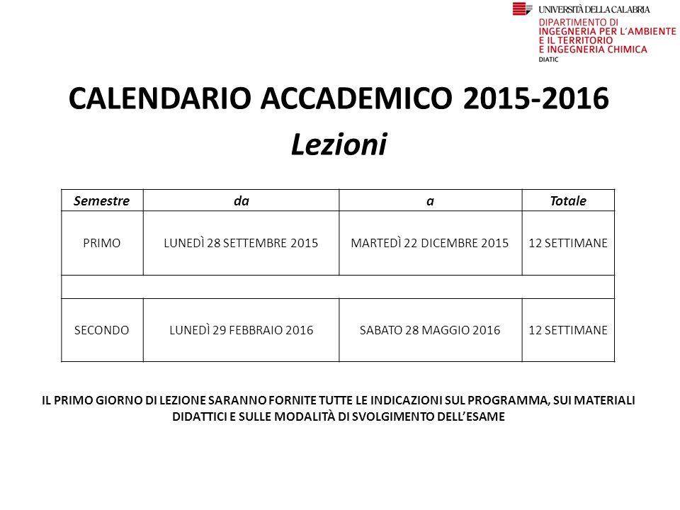 CALENDARIO ACCADEMICO 2015-2016