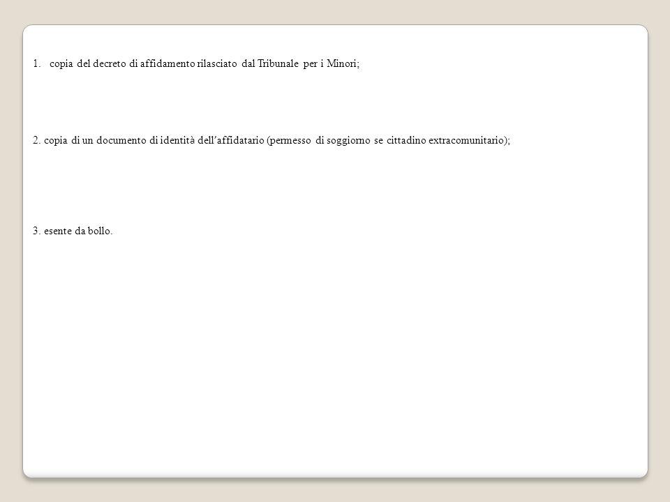 copia del decreto di affidamento rilasciato dal Tribunale per i Minori;