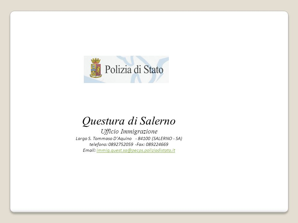 Questura di Salerno Ufficio Immigrazione