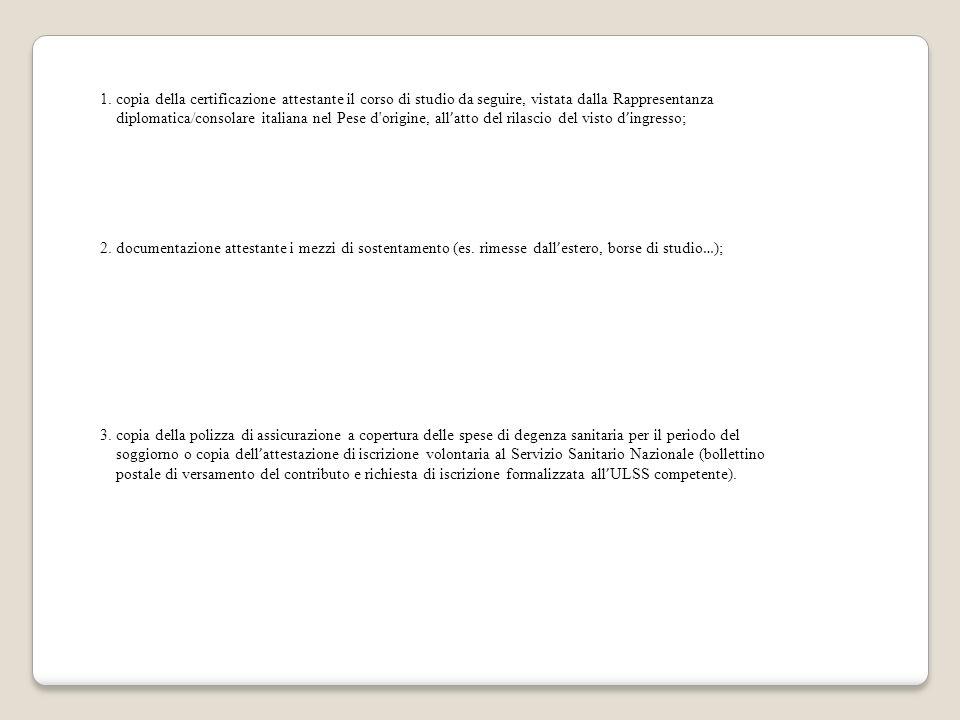 1. copia della certificazione attestante il corso di studio da seguire, vistata dalla Rappresentanza