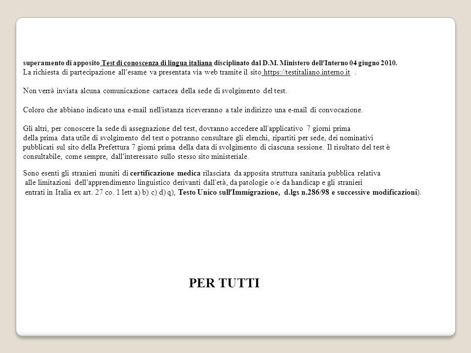 Beautiful Test Lingua Italiana Carta Soggiorno Images - dairiakymber ...