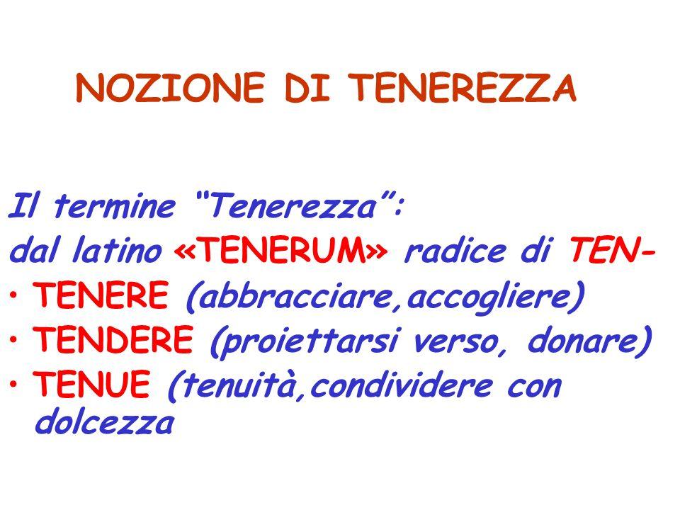 NOZIONE DI TENEREZZA Il termine Tenerezza :