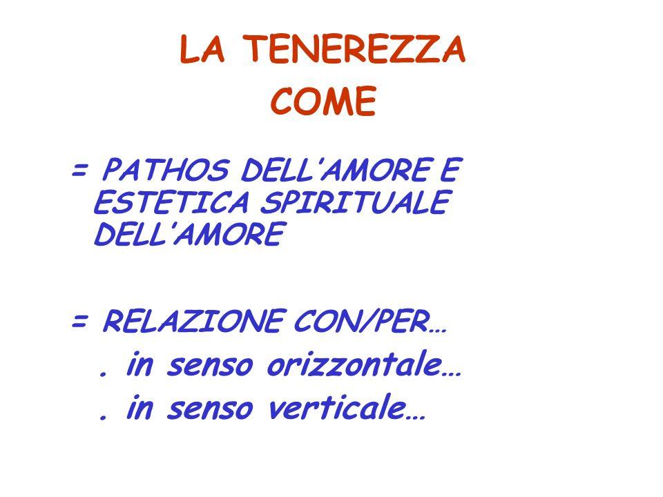 LA TENEREZZA COME = PATHOS DELL'AMORE E ESTETICA SPIRITUALE DELL'AMORE