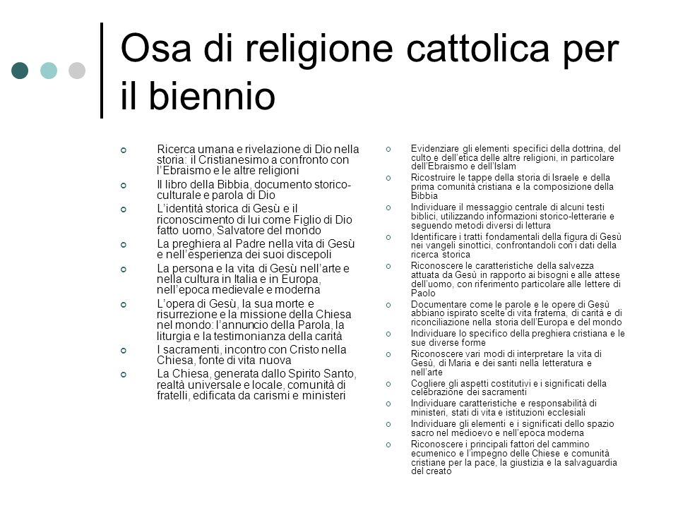 Osa di religione cattolica per il biennio