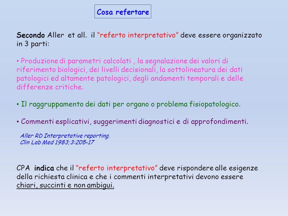 Il raggruppamento dei dati per organo o problema fisiopatologico.