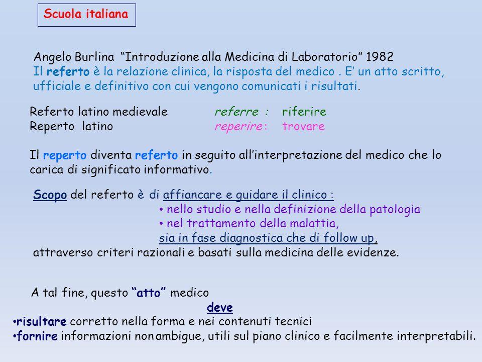 Scuola italiana Angelo Burlina Introduzione alla Medicina di Laboratorio 1982.