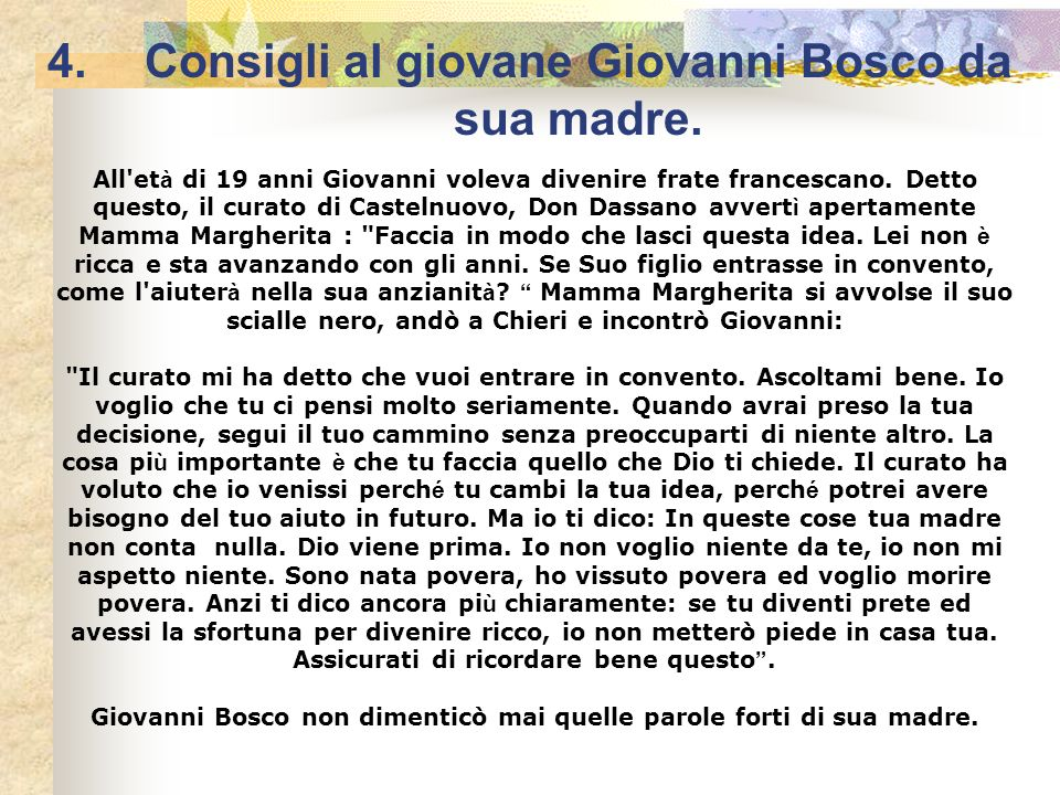 Consigli al giovane Giovanni Bosco da sua madre.