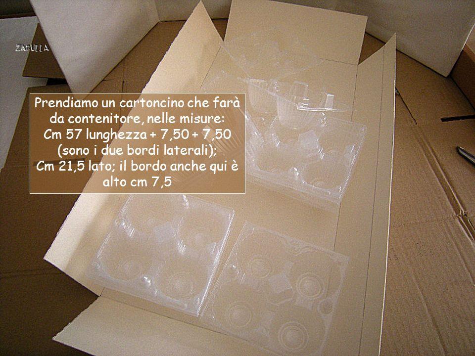 Prendiamo un cartoncino che farà da contenitore, nelle misure: