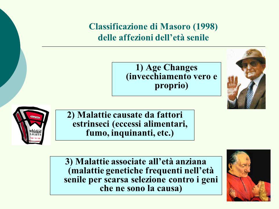 Classificazione di Masoro (1998) delle affezioni dell'età senile