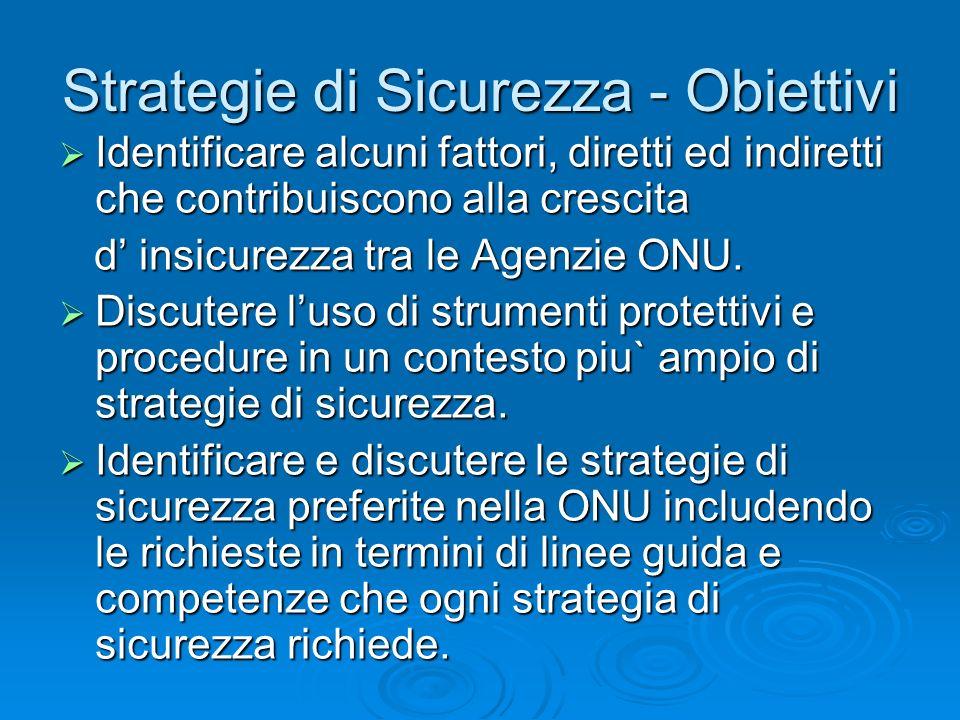 Strategie di Sicurezza - Obiettivi