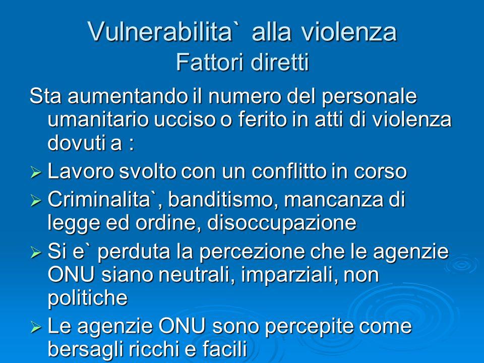 Vulnerabilita` alla violenza Fattori diretti