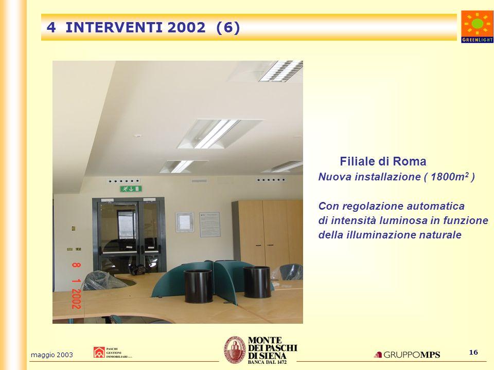 4 INTERVENTI 2002 (6) Filiale di Roma Nuova installazione ( 1800m2 )