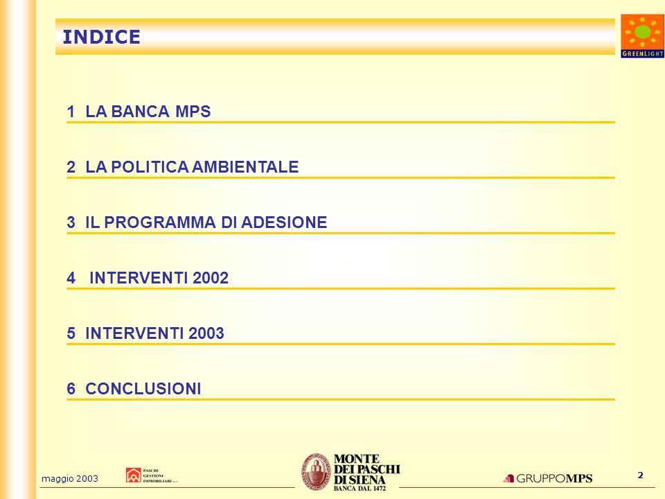 INDICE 1 LA BANCA MPS 2 LA POLITICA AMBIENTALE