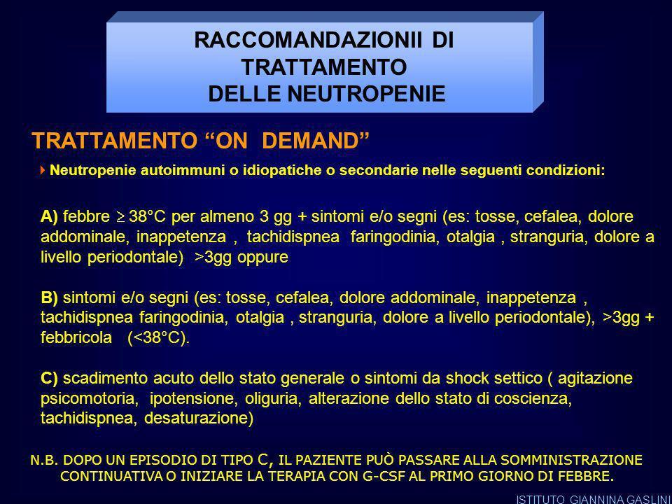 RACCOMANDAZIONII DI TRATTAMENTO TRATTAMENTO ON DEMAND