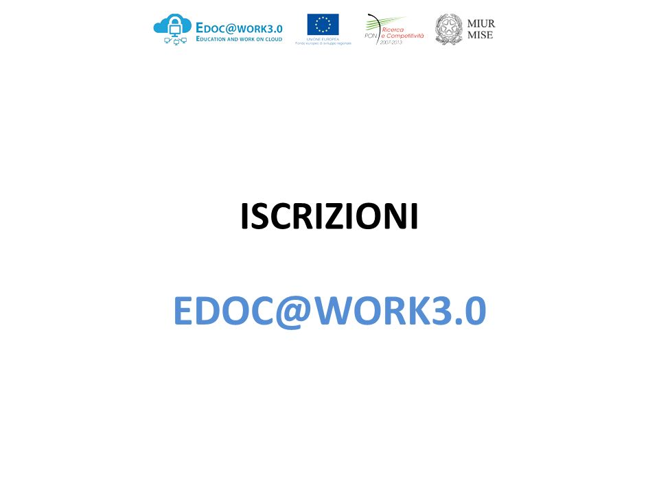 ISCRIZIONI EDOC@WORK3.0