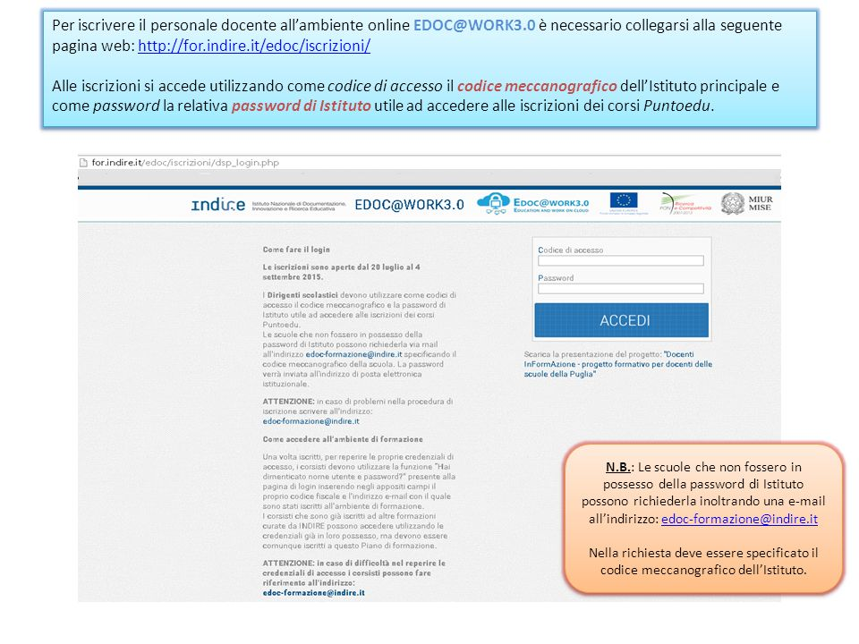 Per iscrivere il personale docente all'ambiente online EDOC@WORK3