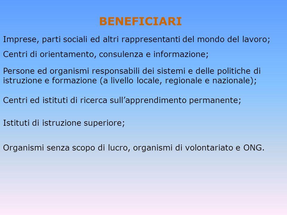 BENEFICIARI Imprese, parti sociali ed altri rappresentanti del mondo del lavoro; Centri di orientamento, consulenza e informazione;