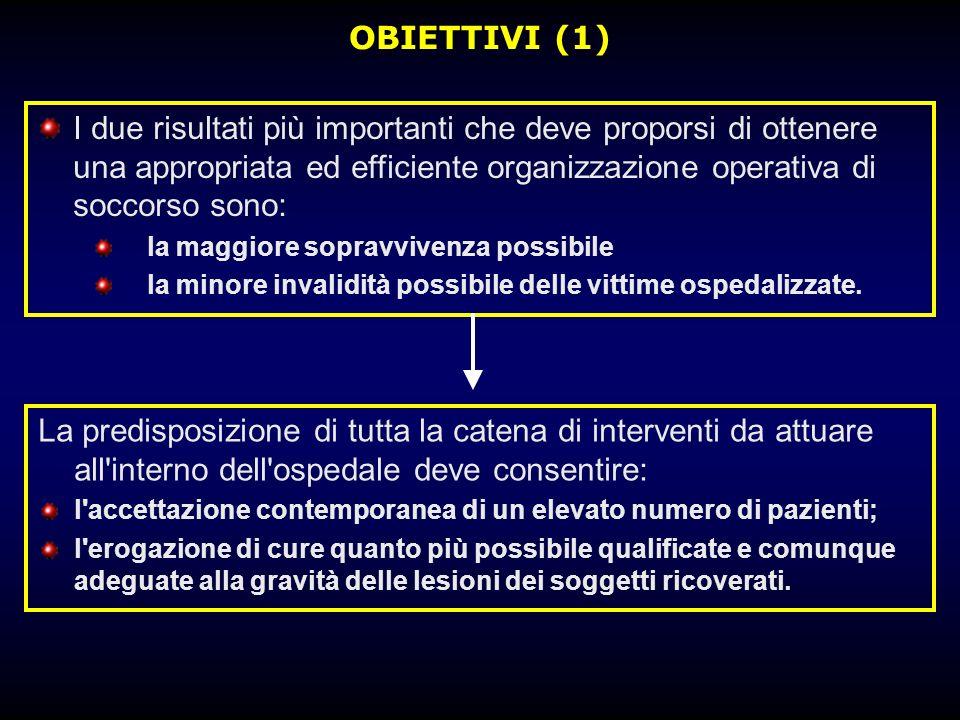 OBIETTIVI (1) I due risultati più importanti che deve proporsi di ottenere una appropriata ed efficiente organizzazione operativa di soccorso sono:
