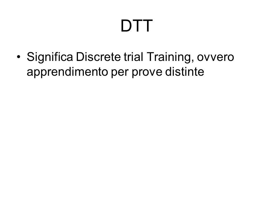 DTT Significa Discrete trial Training, ovvero apprendimento per prove distinte