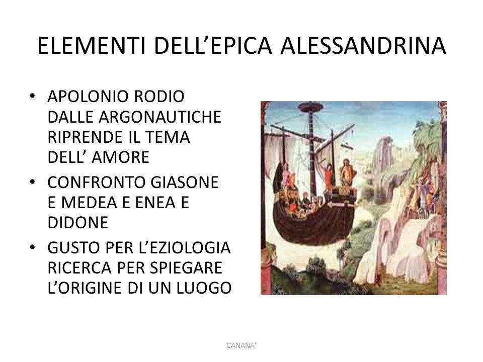 ELEMENTI DELL'EPICA ALESSANDRINA