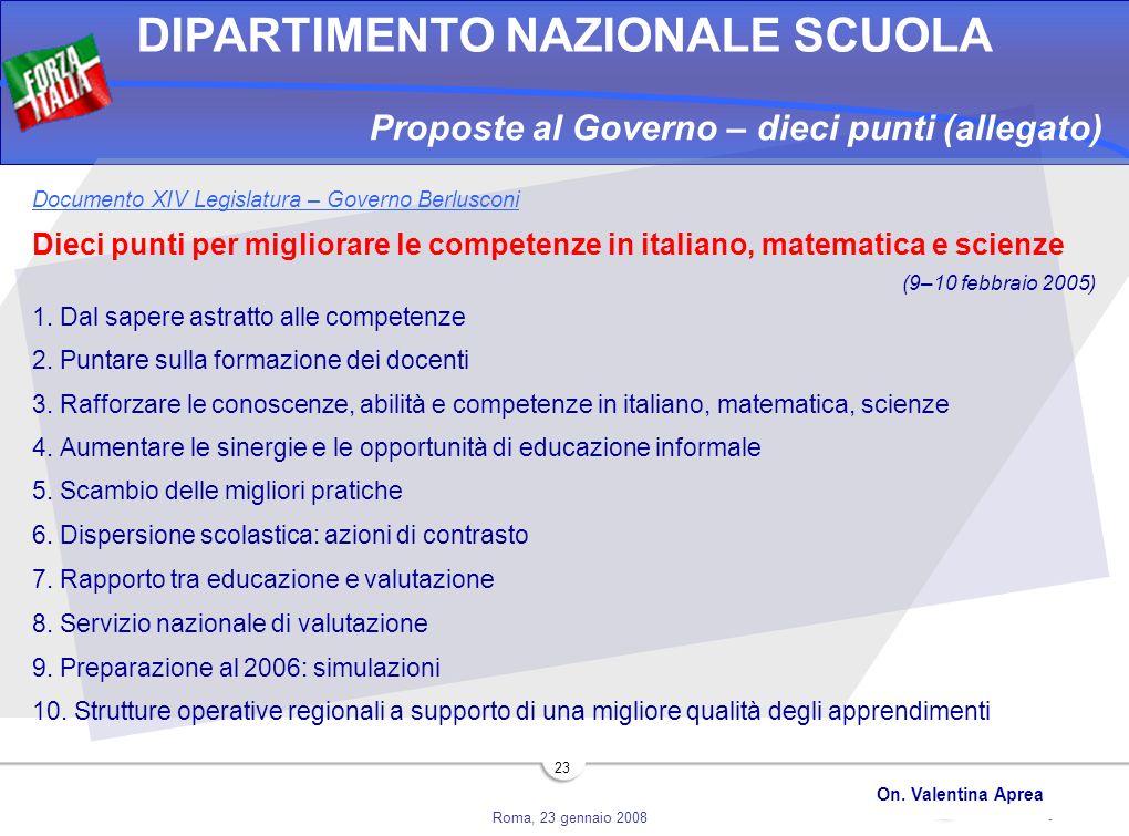 Proposte al Governo – dieci punti (allegato)