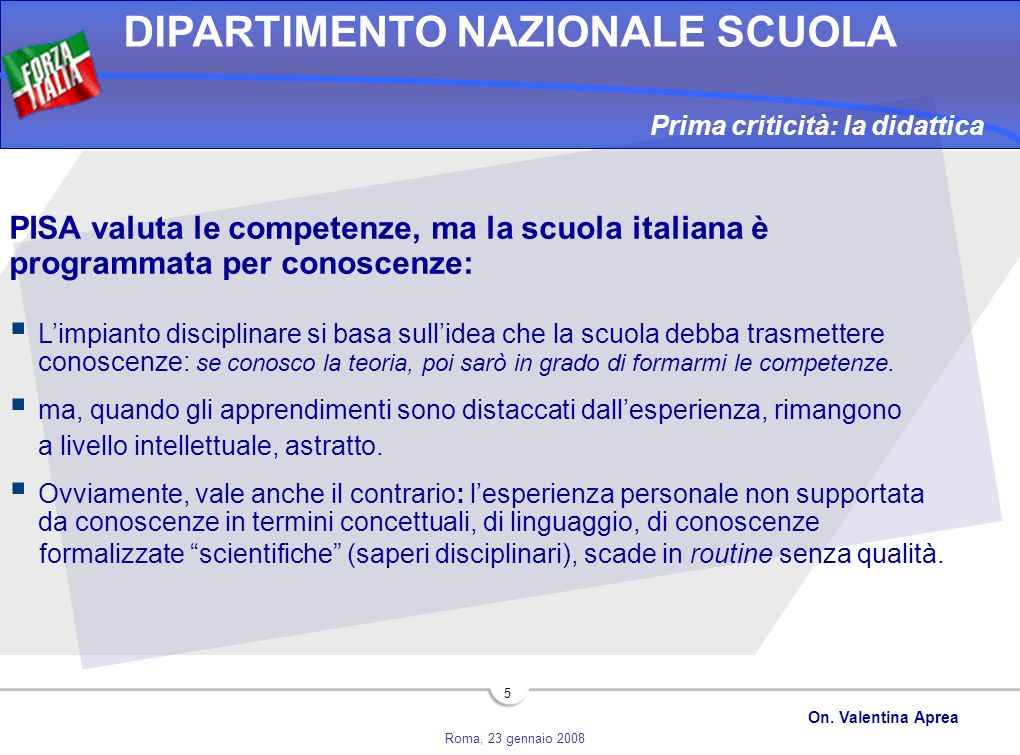 PISA valuta le competenze, ma la scuola italiana è