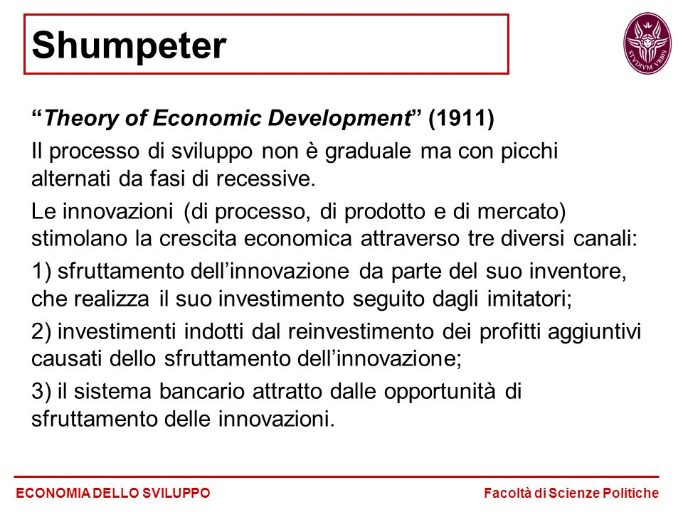 Shumpeter Theory of Economic Development (1911)