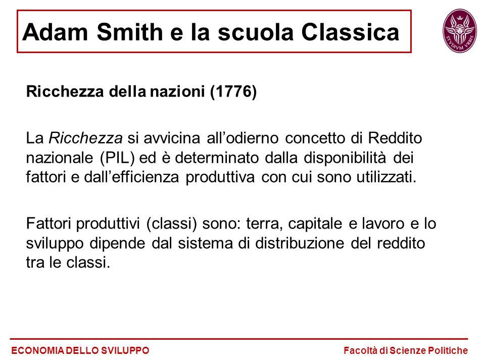 Adam Smith e la scuola Classica